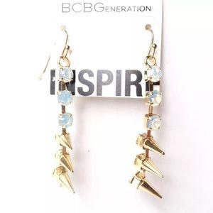 BCBGeneration EARRINGS OPAL GEM GOLD-TONE SPIKE